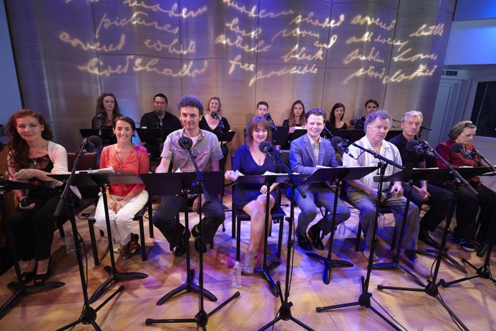 The full company of The Greene Space's production of the audio play, 'Dubliners: A Quartet'