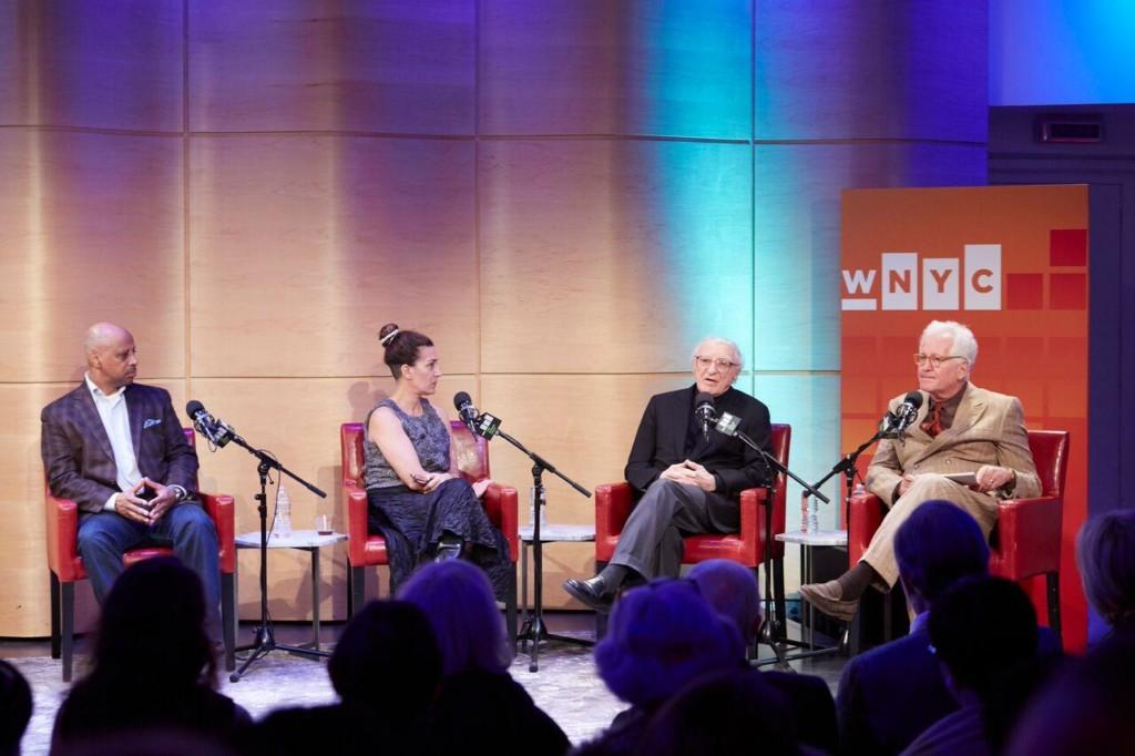 Tony winners Ruben Santiago-Hudson, Jeanine Tesori, Sheldon Harnick talk with Encores! Artistic Director Jack Viertel in The Greene Space