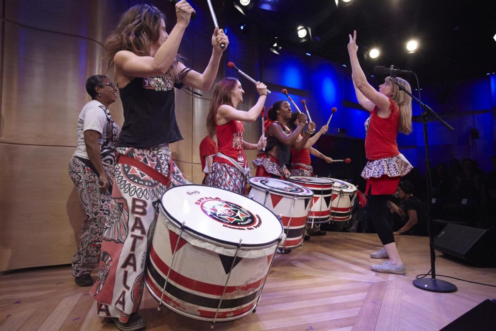 Batala perform in The Greene Space during MOVEMENT: A Celebration Honoring Dr. Martin Luther King, Jr.