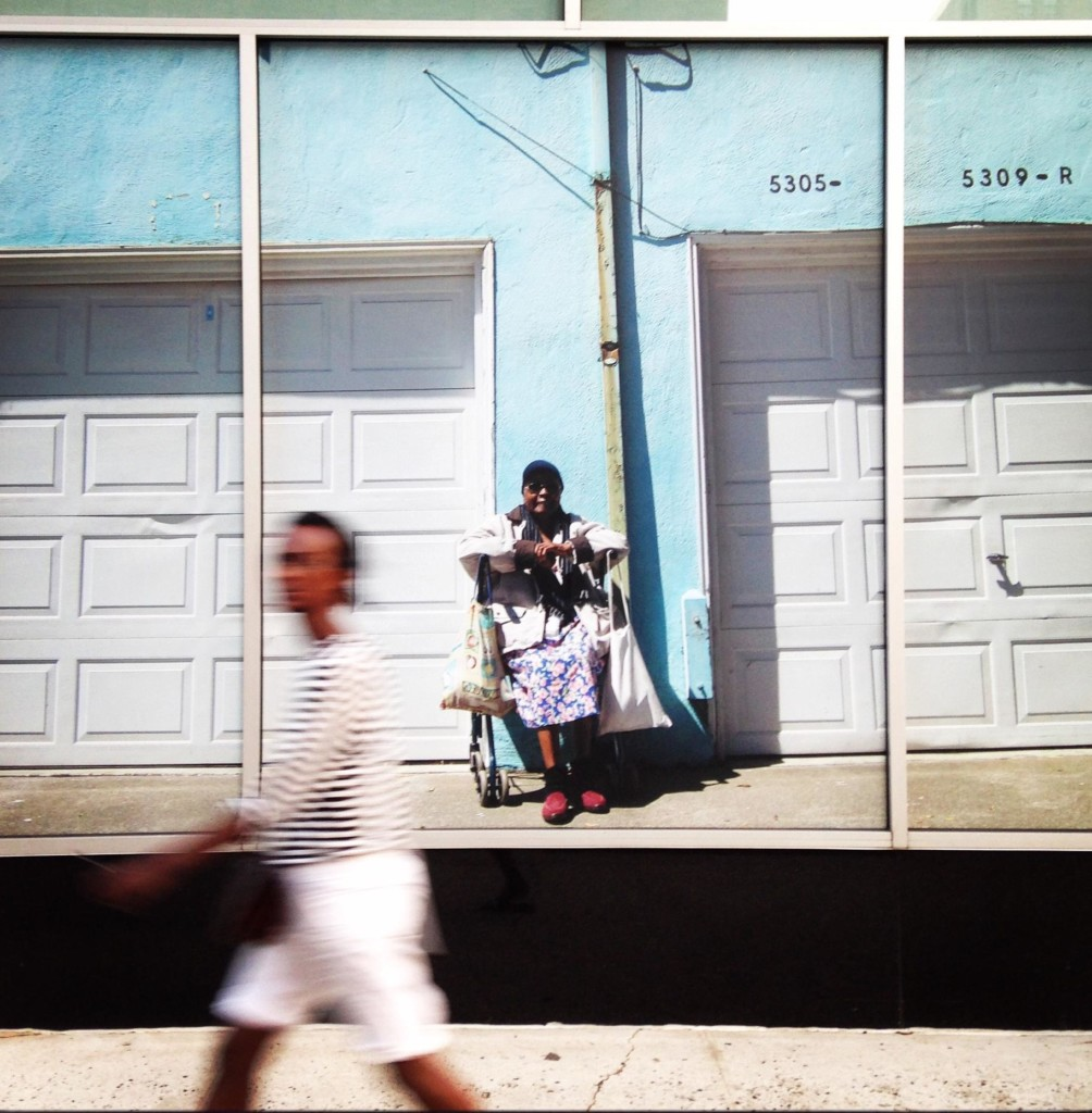 Sadie Barnette's 'Martin Luther King Blvd. and 52nd St. 2015.' Photographed in Oakland, California. Displayed on the Varick Street windows of The Greene Space at WNYC